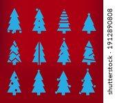 blue silhouette christmas trees ...   Shutterstock . vector #1912890808