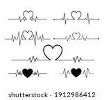 heart beat set isolated on...   Shutterstock .eps vector #1912986412