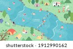 Illustration vector campsites spectacular natural located along the river. spend summer weekend outdoors.
