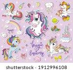 Set Of Cute Cartoon Unicorn...