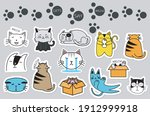 cats cute sticker collection.... | Shutterstock .eps vector #1912999918