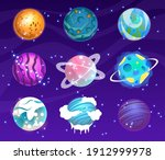 vector set of cartoon planets.... | Shutterstock .eps vector #1912999978