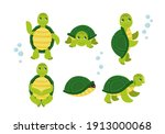 cute cartoon turtles in... | Shutterstock .eps vector #1913000068