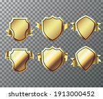 wrapping gold banner ribbons.... | Shutterstock .eps vector #1913000452