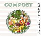 composting bin with kitchen...   Shutterstock .eps vector #1913029948
