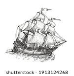 ship drawn sketch. vintage... | Shutterstock .eps vector #1913124268