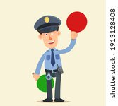policeman show red sign   stop  ... | Shutterstock .eps vector #1913128408