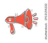 megaphone speaker icon in comic ... | Shutterstock .eps vector #1913154232