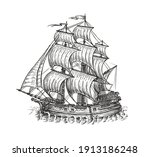 vintage wooden ship with sails. ... | Shutterstock .eps vector #1913186248