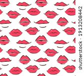 Seamless Red Leaps Pattern Hand ...