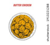 butter chicken sketch  indian... | Shutterstock .eps vector #1913221288