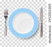 empty vector blue plate with...   Shutterstock .eps vector #1913321305