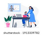 a mother helps her child do...   Shutterstock .eps vector #1913339782