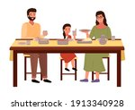 people are eating indian food... | Shutterstock .eps vector #1913340928