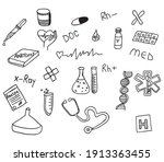 hand drown collection medical... | Shutterstock .eps vector #1913363455