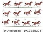 horse running animation. twelve ... | Shutterstock .eps vector #1913380375