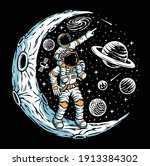 astronaut and his son on the... | Shutterstock .eps vector #1913384302