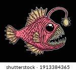 deep sea fish scary illustration   Shutterstock .eps vector #1913384365