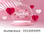 happy stage podium heart  stage ... | Shutterstock .eps vector #1913393395