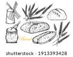 bread. vector hand drawn set... | Shutterstock .eps vector #1913393428
