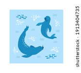 swimming fur seal  sea bear ...   Shutterstock .eps vector #1913404735