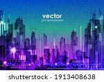 urban vector cityscape at night.... | Shutterstock .eps vector #1913408638