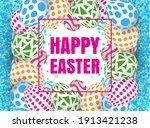 happy easter background with... | Shutterstock . vector #1913421238