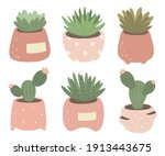 collection of cacti and... | Shutterstock .eps vector #1913443675