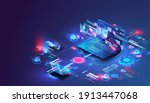 application of smartphone with... | Shutterstock .eps vector #1913447068