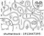black and white maze game for... | Shutterstock .eps vector #1913447395