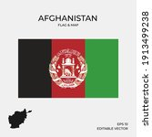 afghanistan set map and flag | Shutterstock .eps vector #1913499238
