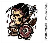 grim reaper tattoo illustration ... | Shutterstock .eps vector #1913522938