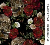 embroidery human skull  red... | Shutterstock .eps vector #1913525968