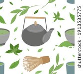 japanese green tea matcha... | Shutterstock .eps vector #1913535775