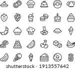 Food Line Icon Set   Cupcake ...