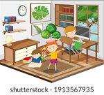 children doing homework in the... | Shutterstock .eps vector #1913567935