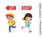 opposite left and right  girl... | Shutterstock .eps vector #1913574682