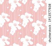 poppy minimal seamless pattern. ... | Shutterstock .eps vector #1913577838