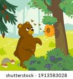cute vector cartoon bear...   Shutterstock .eps vector #1913583028