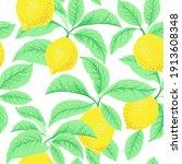 lemon citrus vector pattern.... | Shutterstock .eps vector #1913608348