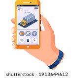 human hand holding smartphone... | Shutterstock .eps vector #1913644612