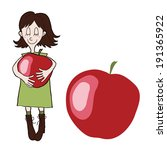cartoon girl with an apple | Shutterstock .eps vector #191365922