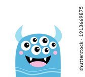 monster smiling face head icon. ...   Shutterstock .eps vector #1913669875