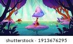 fantasy landscape with huge...   Shutterstock .eps vector #1913676295