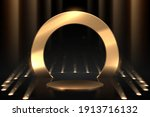 gold podium and ring with... | Shutterstock .eps vector #1913716132