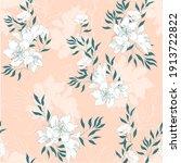 gentle pink floral print ...   Shutterstock .eps vector #1913722822