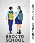 walking boy and girl back to... | Shutterstock .eps vector #1913722888
