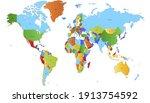 world map color vector modern.... | Shutterstock .eps vector #1913754592