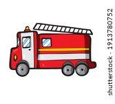 fire truck on white background... | Shutterstock .eps vector #1913780752