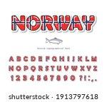 norway cartoon font. norwegian... | Shutterstock .eps vector #1913797618